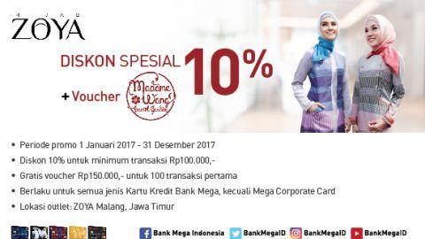 Hijab Zoya Malang Diskon Spesial 10%+Voucher Madane Wang Surat Yasin - Bank Mega