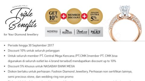 Triple Benefits Jewellery Get 10% +  Member Discount + Amazing Extra 5% Member Diskon Bank Mega