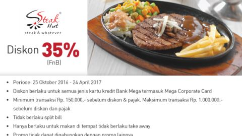 Steak Hut Discount 35% (FnB) Kartu Kredit Bank Mega