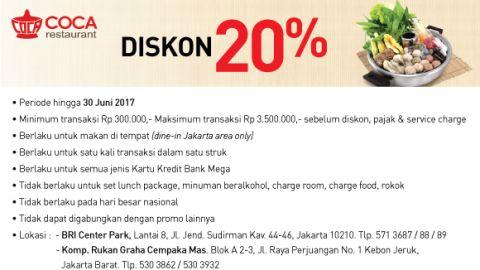 Coca Suki Diskon 20% Bank Mega