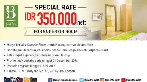 Best Inn Balikpapan Special Rate IDR Rp 350.000 Neet For Surperior Room - Bank Mega