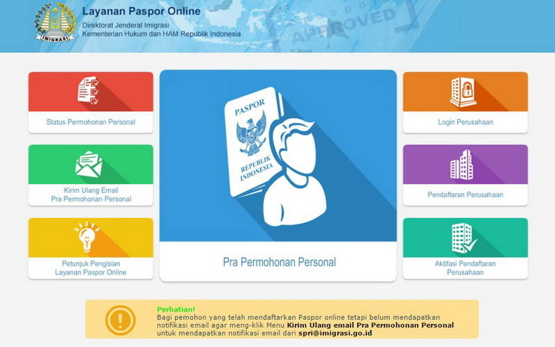 Kunjungi Situs Imigrasi untuk Pembuatan/Perpanjangan Paspor Online